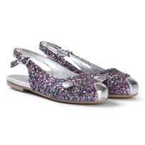 Little Marc Jacobs Silver Glitter Slingback Pumps Z40