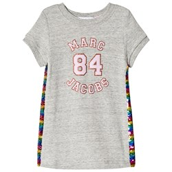 The Marc Jacobs Grey Marl Branded Dress with Rainbow Sequin Sides