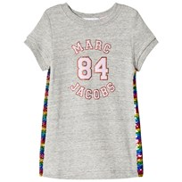 Little Marc Jacobs Grey Marl Branded Dress with Rainbow Sequin Sides A35