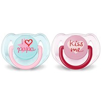 Philips Avent 2-Pack Fashion Napp 6-18M Rosa Multi