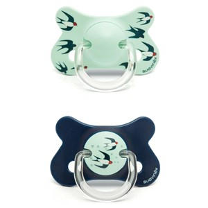 Image of Suavinex Fusion Anatomical Latex Pacifier +18m Blue Swallow (2 Pack) (3065505013)