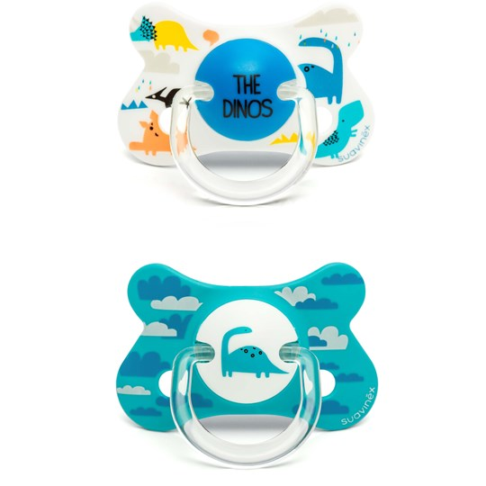 Suavinex Fusion Anatomical Silicone Pacifier +18m Blue Dino (2 Pack) Blue Dino