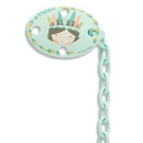 Suavinex Oval Pacifier Clip Blue Indian Blue Indian
