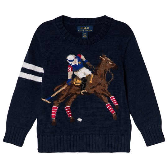 Ralph Lauren Navy Polo Player Intarsia Jumper 001
