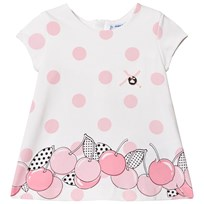 Mayoral White with Pink Spots and Cherry Print Dress 74