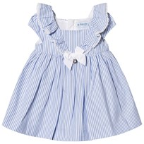 Mayoral Blue Stripe Dress with Ruffle Front and Bow 42