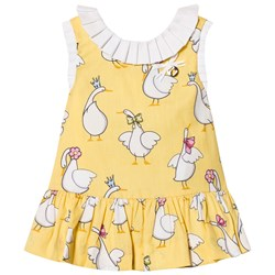 Mayoral Yellow Swan Print Dress with Pleated Collar