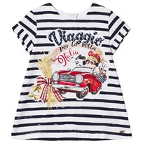 Mayoral Navy Striped Graphic Print Tee Dress 62