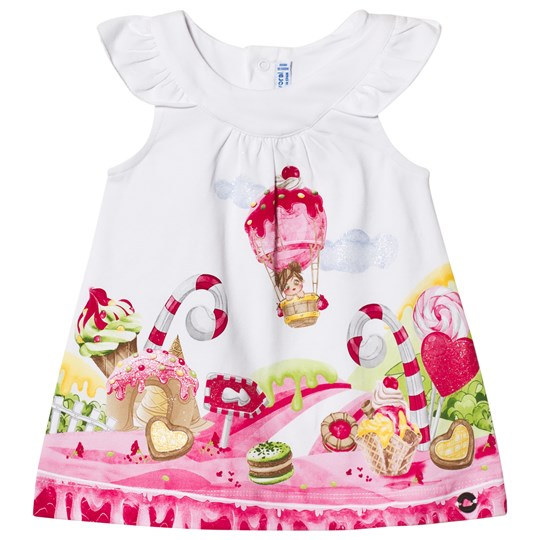 Mayoral White with Pink Candy World Graphic Dress 88