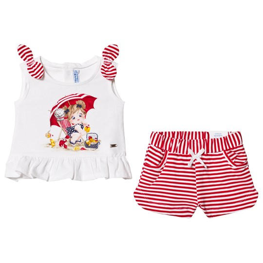 Mayoral Red Stripe Shorts and White Graphic Tee Set 71