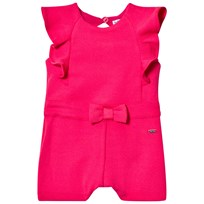 Mayoral Textured Playsuit with Ruffle and Bow Detail Pink 24