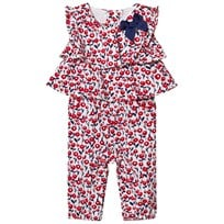 Mayoral Navy and Red Flower Print Jumpsuit with Ruffle and Bow Detail 86