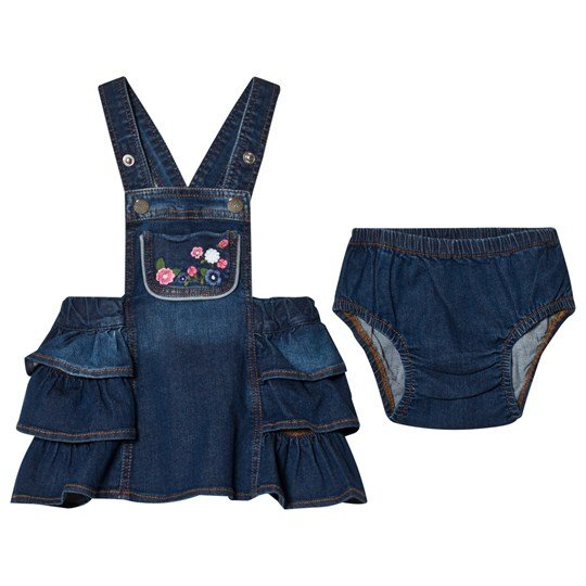 Mayoral Embroidered Flowers Denim Overalls Dress 5