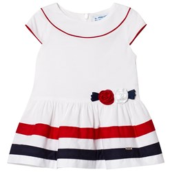 Mayoral White with Navy and Red Stripe and Flower Applique Dress