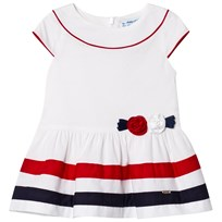Mayoral White with Navy and Red Stripe and Flower Applique Dress 63