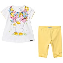 Mayoral White Duck Print Top and Yellow Leggings Set 39
