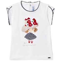 Mayoral Girl Graphic Tee with Applique and Embroidery White
