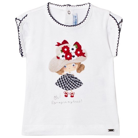 Mayoral Girl Graphic Tee with Applique and Embroidery White 67