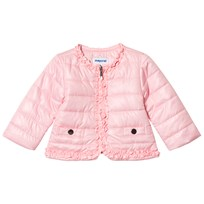 Mayoral Pink Padded Coat with Frill Trim 64