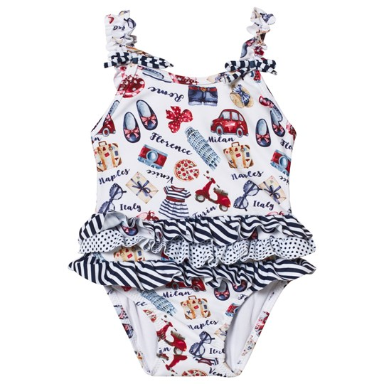 Mayoral Navy and White Print Ruffle Swimsuit 48