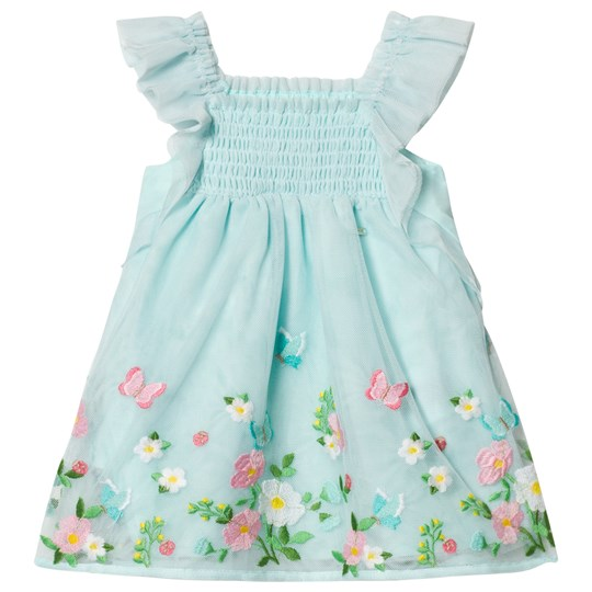 Mayoral Aqua Embroidered Tulle Dress 81
