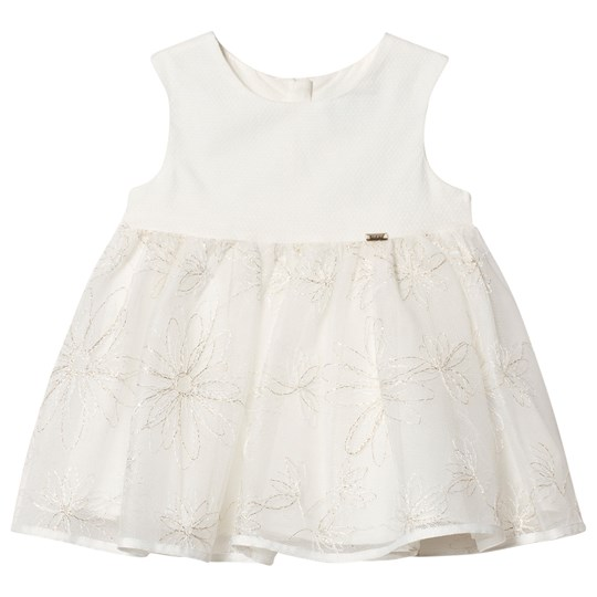Mayoral Cream Tulle Dress with Silver Embroidered Flowers 10
