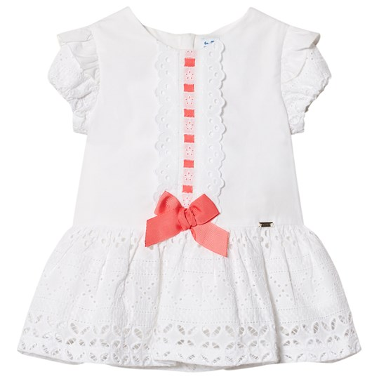 Mayoral White Broderie Anglais Dress with Pink Bow 32