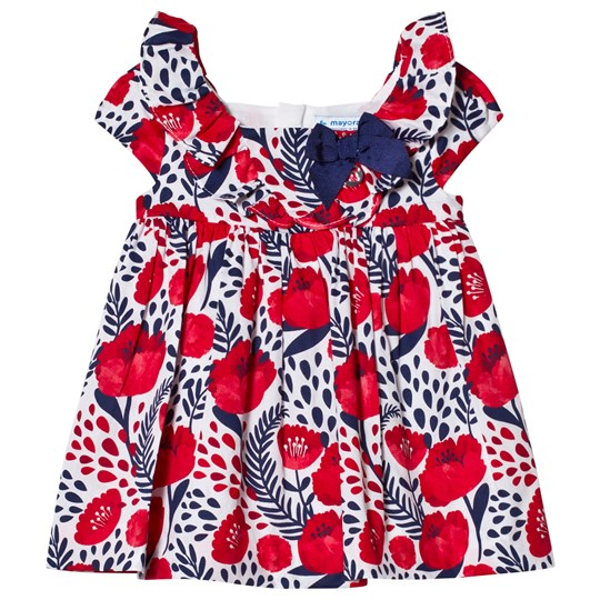 Mayoral Navy and Red Flower Print Dress with Bow 37