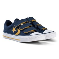 Converse Navy and Yellow Star Player EV 3V OX Junior Trainers BLACK/WHITE/BLACK