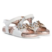 Michael Kors White and Rose Gold Flower Applique Marsha Way-T Sandals White and Rose Gold