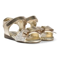 Michael Kors Gold Metallic Branded Bow Zia Demi Din-T Sandals Gold