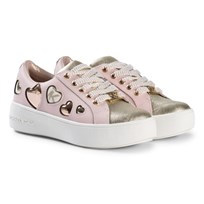 Michael Kors Pink and Gold Zia Maven Love Heart Trainers Pink and Gold
