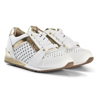Michael Kors White and Gold Perforated Zia Allie Say Laced Trainers White and Gold