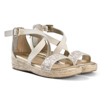 Michael Kors Cream Logo Zia Margie Sims Wedge Sandals Cream