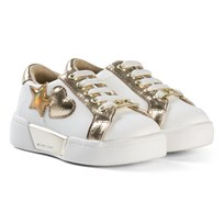 Michael Kors White and Gold Heart Zia Guard Zone Lace Trainers White and Gold