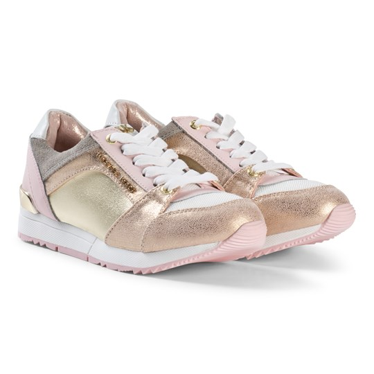 Michael Kors Pink and Gold Branded Zia Allie Say-T Trainers Pink and Gold