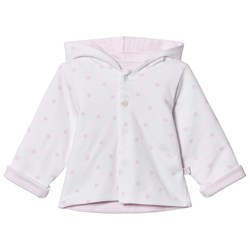 Absorba Reversible Spot and Stripe Hooded Jacked White and Pale Pink