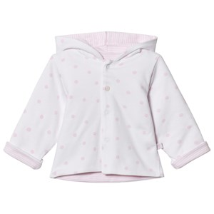Image of Absorba Reversible Spot and Stripe Hooded Jacked White and Pale Pink 1 month (2950171685)
