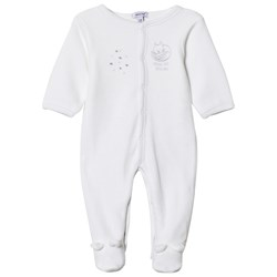Absorba Cat Print and Stars Footed Baby Body White