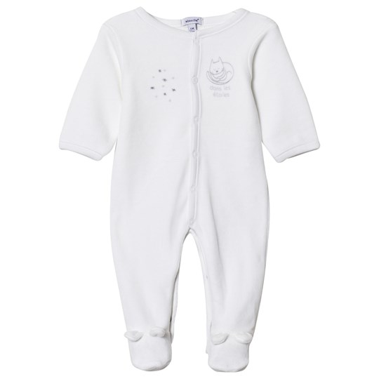 Absorba Cat Print and Stars Footed Baby Body White 01