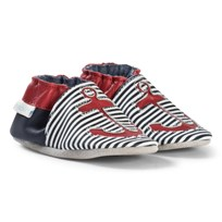 Robeez Navy and White Stripe and Anchor Leather Crib Shoes Marine/Navy