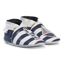 Robeez Navy and White Striped Leather Crib Shoes with Lighthouse and Boat Marine Blanc/Navy White