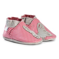 Robeez Pink Spot and Butterfly Leather Crib Shoes Rose fonce/Dark pink