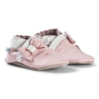 Robeez Pink Spot and Bow Leather Crib Shoes Rose/Pink