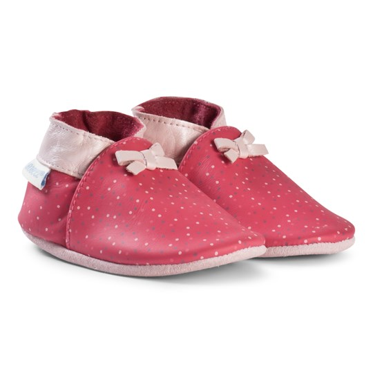Robeez Red Spot with Pink Bows Leather Crib Shoes Fuschia/Fuschia