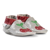 Robeez Silver Happy Cherry Leather Crib Shoes Gris paillette/Grey glitter