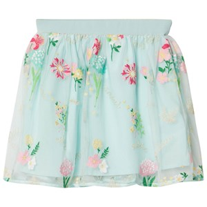 Image of Mayoral Aqua Embroidered Flower Tulle Skirt 12 years (2951622309)