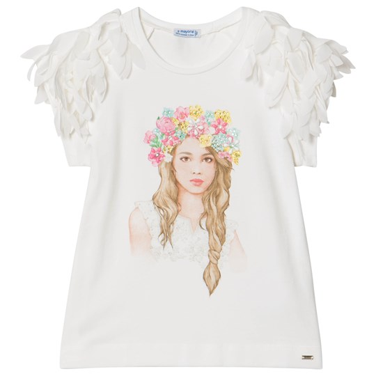 Mayoral Diamante Floral Girl T-shirt Vit 83