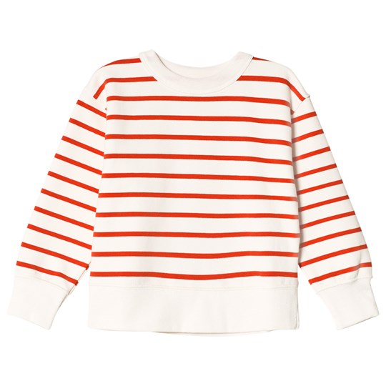 Tinycottons Small Stripes Sweatshirt Off-White/Carmine off-white/carmine