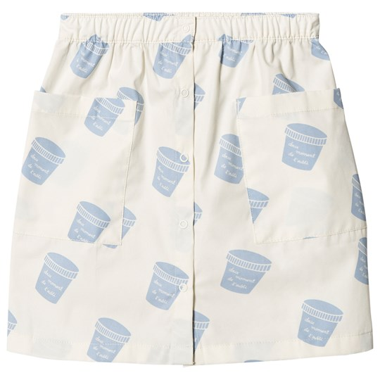 Tinycottons Pots Button Down Skirt Off-White/Light Cerulean Blue off-white/light cerulean blue